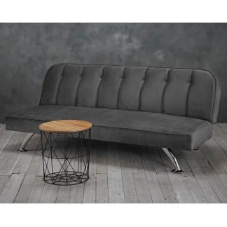 An Image of Wingert Velvet Sofa Bed In Grey With Silver Finished Legs