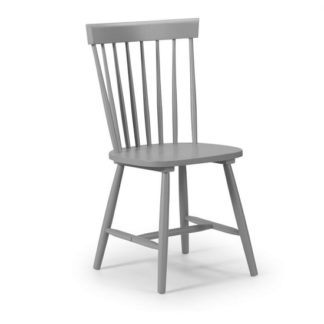 An Image of Stugard Wooden Dining Chair In Grey Lacquered Finish