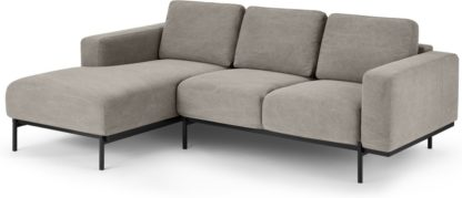 An Image of Jarrod Left Hand facing Chaise End Corner Sofa, Washed Grey Cotton