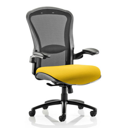 An Image of Houston Heavy Black Back Office Chair With Senna Yellow Seat