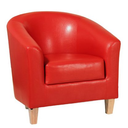 An Image of Leporis PU Leather 1 Seater Sofa In Red