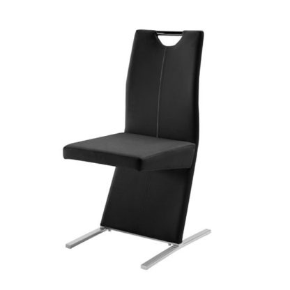 An Image of Image Metal Swinging Black Faux Leather Dining Chair