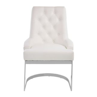 An Image of Azaltro Linen Fabric Dining Chair In Ivory