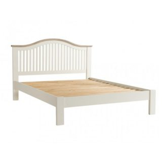 An Image of Alaya Wooden Double Size Bed In Stone White Finish