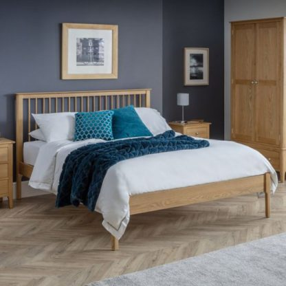 An Image of Cotswold Wooden Double Bed In Oak