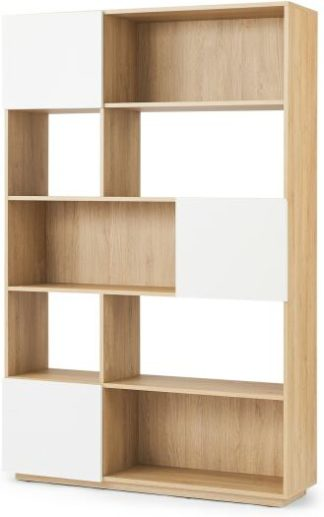 An Image of MADE Essentials Hopkins Wide Bookcase, Oak Effect & White