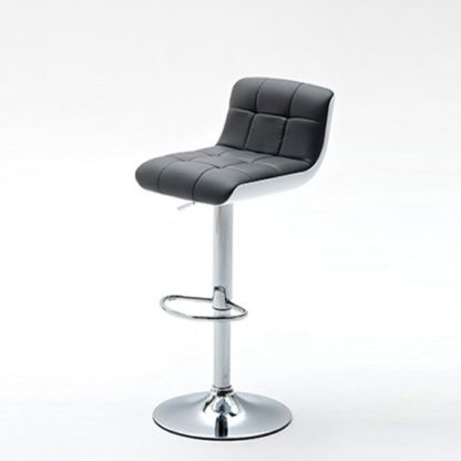 An Image of Bob Grey Bar Stool In Faux Leather With Chrome Base