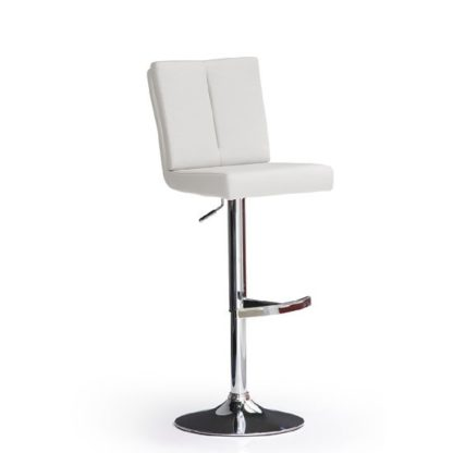 An Image of Bruni White Bar Stool In Faux Leather With Round Chrome Base