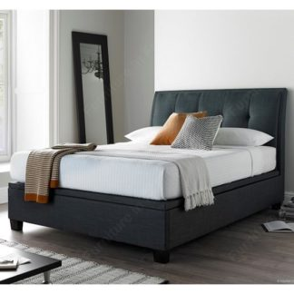 An Image of Evelyn Fabric Ottoman Storage King Size Bed In Slate
