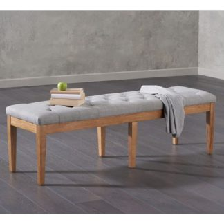 An Image of Absolutno Fabric Large Dining Bench In Grey