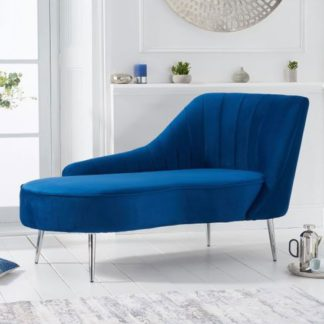 An Image of Jara Velvet Right Facing Arm Lounge Chaise In Blue