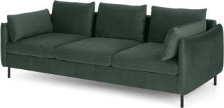 An Image of Vento 3 Seater Sofa, Autumn Green Velvet