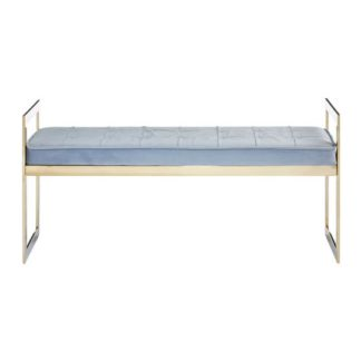 An Image of Alluras Powder Blue Velvet Button Tufted Bench With Gold Base