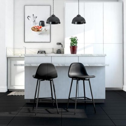 An Image of Calvin Faux Leather Upholstered Counter Stool In Black