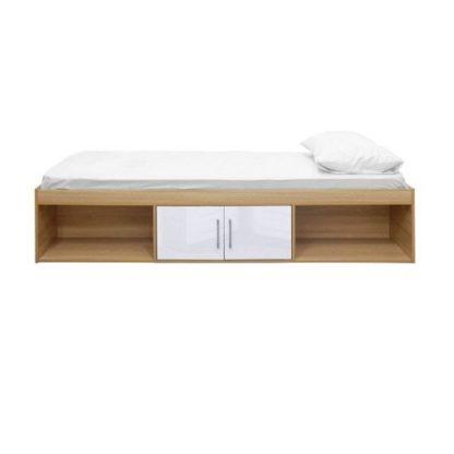 An Image of Dakoto Single Cabin Bed In White And Matt Oak Finish