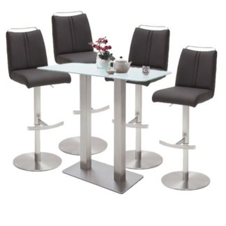 An Image of Soho White Glass Bar Table With 4 Giulia Anthracite Stools