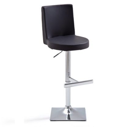 An Image of Twist Bar Stool Black Faux Leather With Square Chrome Base