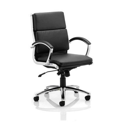 An Image of Olney Bonded Leather Office Chair In Black With Medium Back