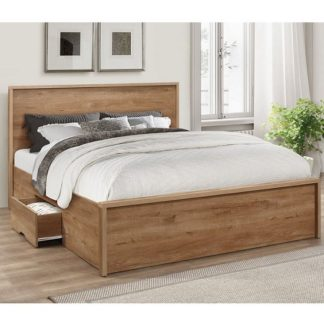 An Image of Silas Wooden Double Bed In Rustic Oak Effect With 2 Drawers