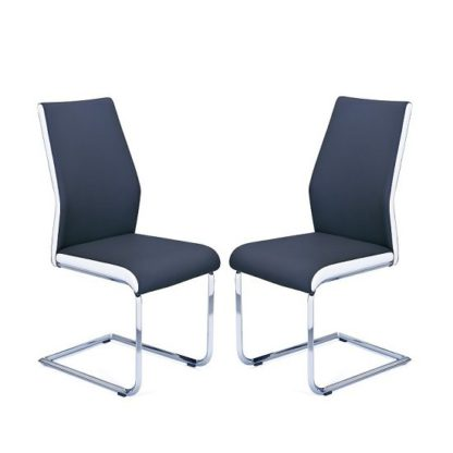 An Image of Marine Dining Chair In Black And White Faux Leather In A Pair