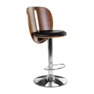 An Image of Wesley Bar Stool In Black Faux Leather With Chrome Base