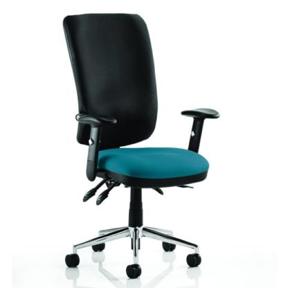 An Image of Chiro High Black Back Office Chair In Maringa Teal With Arms