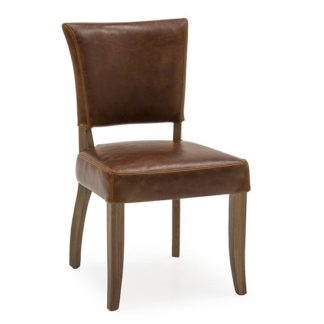 An Image of Epping PU Leather Dining Chair In Tan Brown With Wooden Frame