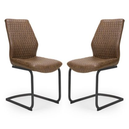 An Image of Charlie Antique Brown Faux Leather Dining Chairs In A Pair