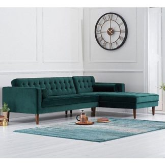 An Image of Ogma Velvet Right Facing Chaise Sofa Bed In Green