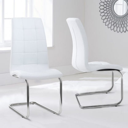 An Image of Liesma PU White Dining Chairs In Pair With Hoop Leg