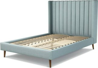 An Image of Custom MADE Cory Double size Bed, Sea Green Cotton with Walnut Stained Oak Legs