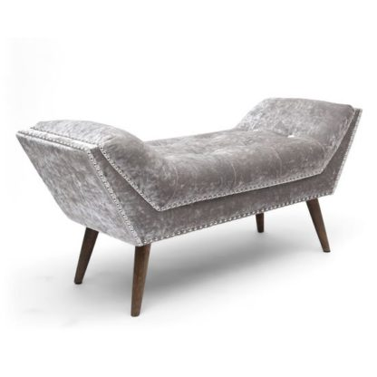An Image of Mulberry Medium Crushed Velvet Chaise In Silver With Wooden Feet