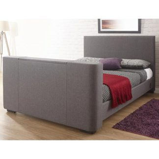 An Image of Newark Fabric Double Electric TV Bed In Grey