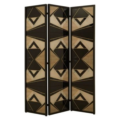 An Image of Malmok Wooden Folding Patterned Black And White Room Divider
