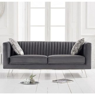 An Image of Achird Velvet 2 Seater Sofa In Grey