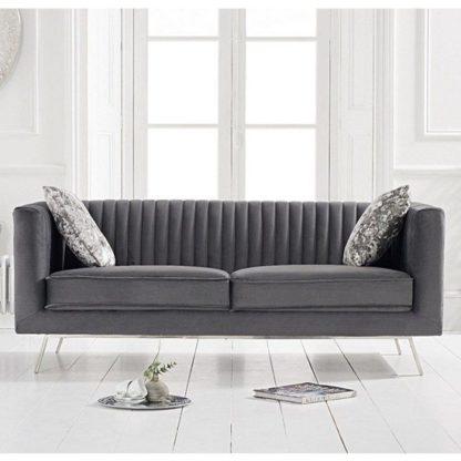 An Image of Achird Velvet 2 Seater Sofa In Grey
