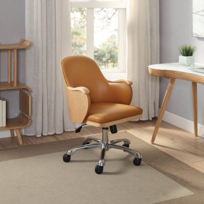 An Image of Terrence Faux Leather Office Chair In Tan And Ashwood Finish