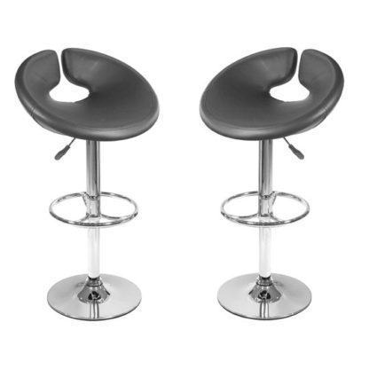 An Image of Generoso Black Leather Bar Stool In Pair