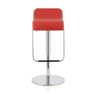An Image of Emelia Bar Stool In Red Faux Leather And Stainless Steel Base