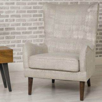 An Image of Erwan Fabric Sofa Chair In Cream With Wooden Legs