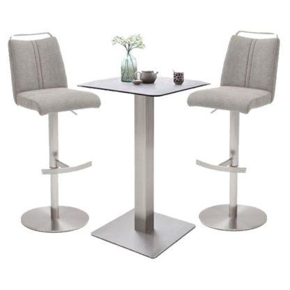 An Image of Soho Glass Bar Table With 2 Giulia Ice Grey Fabric Stools