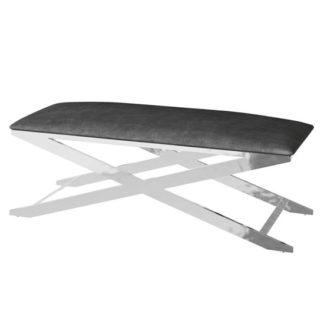 An Image of Vertue Velvet Fabric Upholstered Dining Bench In Black