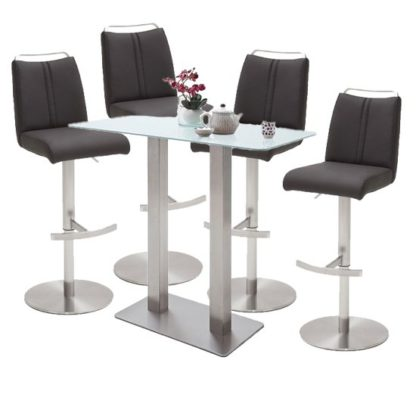 An Image of Soho Glass Bar Table With 4 Giulia Anthracite Leather Stools