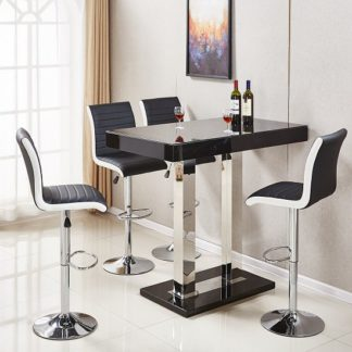 An Image of Caprice Glass Bar Table In Black Gloss With 4 Ritz Black Stools