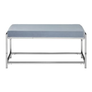 An Image of Alluras Powder Blue Velvet Bench With Silver Base