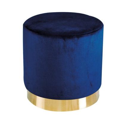An Image of Lara Velvet Pouffe In Royal Blue