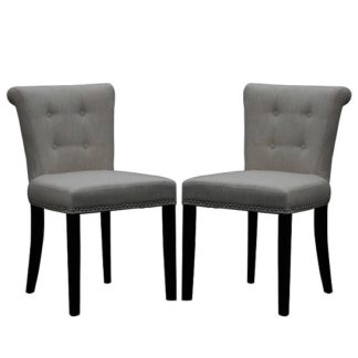 An Image of Calgary Fabric Dining Chair In Linen Effect Grey In A Pair