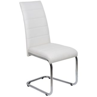 An Image of Daryl Dining Chair In White PU Leather With Stainless Steel Legs