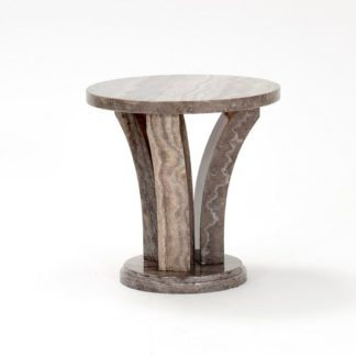 An Image of Colton Marble End Table Round In Pearl Grey