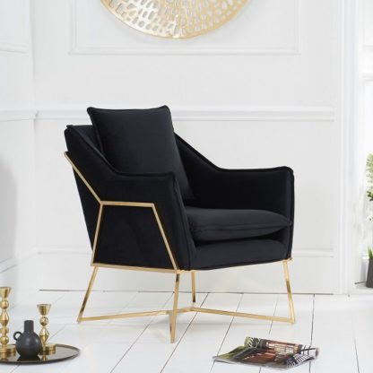 An Image of Gamma Velvet Accent Lounge Chair In Black With Brass Frame